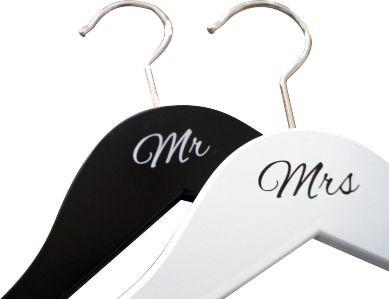 Kleiderbügel Mr Mrs Druck schwarz weiß