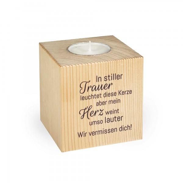 """Teelichthalter Gedenken """"In stiller Trauer"""""""