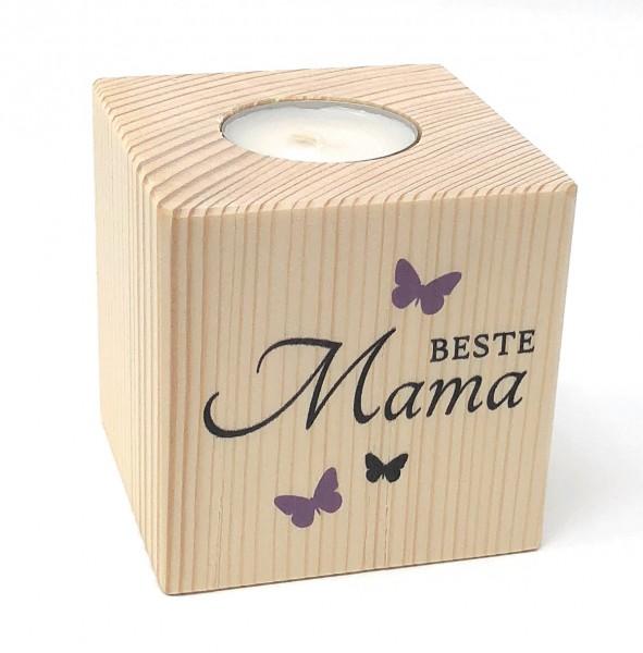 Beste Mama Teelichthalter aus Holz