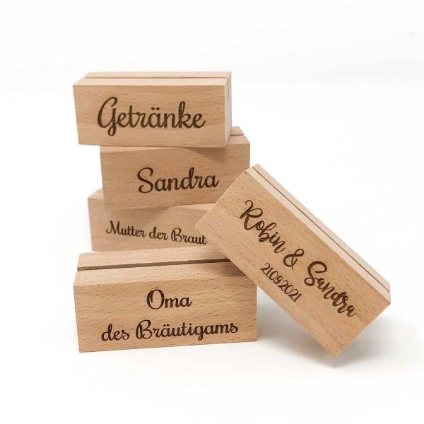 Kartenhalter Namenskartenhalter Tischkartenhalter Holz Gravur